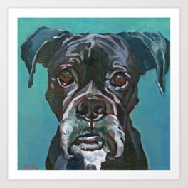 Sable the Black Boxer Dog Art Print