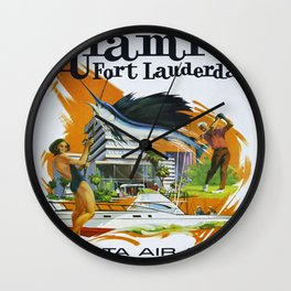 Vintage poster - Miami and Fort Lauderdale Wall Clock