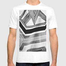Modern Zebra Abstract MEDIUM Mens Fitted Tee White