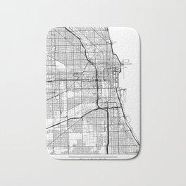 Chicago Map White Bath Mat