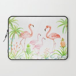 Watercolor flamingo family art print Laptop Sleeve