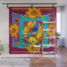 Decorative Ornate  Burgundy-Blue Jay Sunflowers Wall Mural