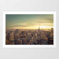 new york skyline Art Prints featuring New York Skyline Cityscape by Vivienne Gucwa