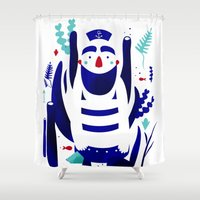 finding nemo Shower Curtains featuring Captain Nemo by Fabiola Correas