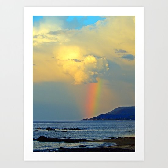 Rainbow on the Coastal Town Art Print