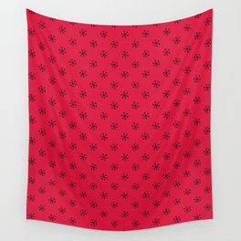 Black on Crimson Red Snowflakes Wall Tapestry