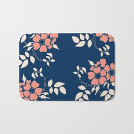 FLORAL IN BLUE AND CORAL Bath Mat