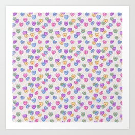 Feminist Valentine Candy Hearts in White and Rainbow, No Wifey Art Print