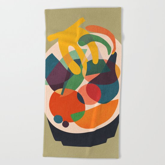 Fruits in wooden bowl Beach Towel