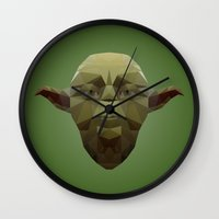 low poly Wall Clocks featuring Yoda Low Poly by organicdreams