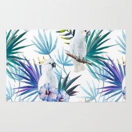 Tropical Cockatoo Watercolor Pattern Rug