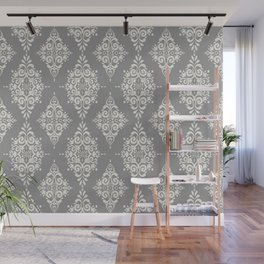 Modern Floral Damask Pattern – Neutral Medium Gray and Light Beige Wall Mural