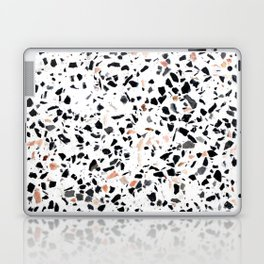 Terrazzo Stone Pattern Black and Orange Peach Laptop & iPad Skin