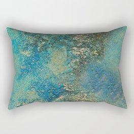 Blue And Gold Modern Abstract Art Painting Rectangular Pillow