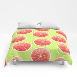 Pink Grapefruit Slices Pattern Comforters