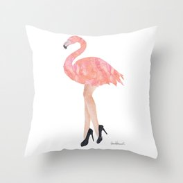 Pink flamingo with legs and high heels watercolor Throw Pillow
