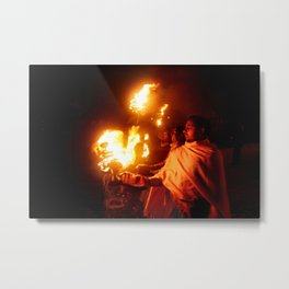 Fire on the Ganga River Metal Print