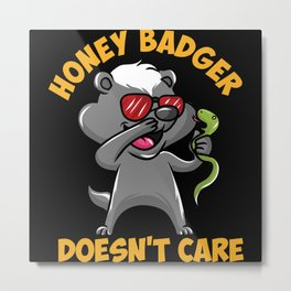 Honey Badger Takes On Snake Metal Print