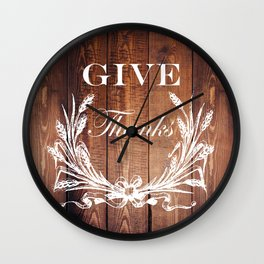 rustic western country barn wood farmhouse wheat wreath give thanks Wall Clock