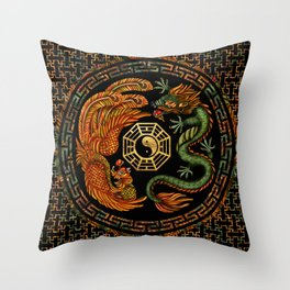 Phoenix and Dragon with bagua #2 Throw Pillow