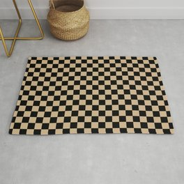 Black and Tan Brown Checkerboard Rug