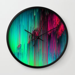 Just Chillin' - Abstract Neon Glitch Pixel Art Wall Clock
