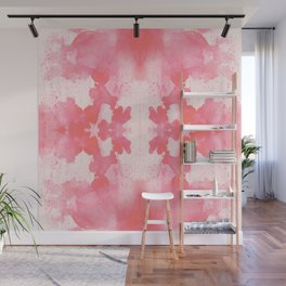 Coral : living coral ink blot abstract painting Wall Mural