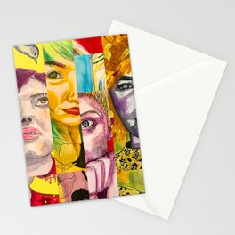 Female Faces Portrait Collage Design 1 Stationery Cards