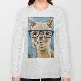 Cute Alpaca With Glasses Long Sleeve T-shirt
