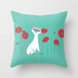 Siamese & Poppies Throw Pillow