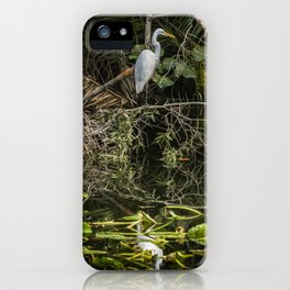 Great White Egret on a Branch iPhone Case