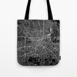 Houston Black Map Tote Bag