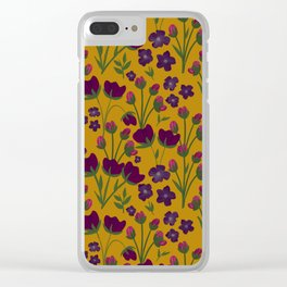 Purple and Gold Floral Seamless Illustration Clear iPhone Case