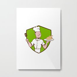 Chef Cook Roast Chicken Spatula Crest Cartoon Metal Print