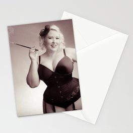 """Of Corset Darling"" - The Playful Pinup - Vintage Corset Pinup Photo by Maxwell H. Johnson Stationery Cards"