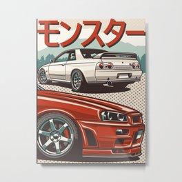 Monster Skyline GTR R32 and  R34 Metal Print