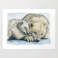 polar bears sleeping 492 Art Print
