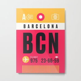Baggage Tag A - BCN Barcelona El Prat Spain Metal Print