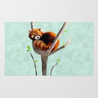 red panda Area & Throw Rugs featuring Red Panda by Whitney Silva