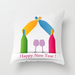 New year greetings with House formed with many colorful bottles and glasses Throw Pillow
