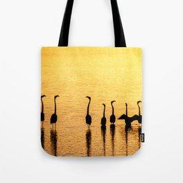 Silhouette of Pink Flamingos Tote Bag