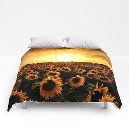 Sunflower Watercolor Comforters