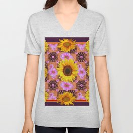 Western Style Burgundy Sunflower Art in Pink Unisex V-Neck