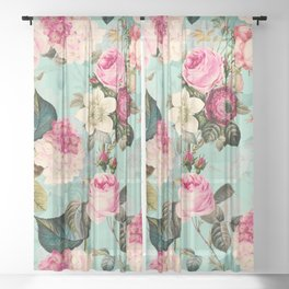 Vintage & Shabby Chic - Summer Teal Roses Flower Garden Sheer Curtain