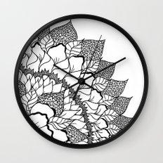 Modern handdrawn floral mandala black white pattern Wall Clock