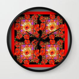 GREY & BLACK ART RED DECO ORANGE-RED POPPIES Wall Clock