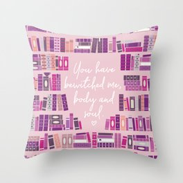 Mr Darcy Quote Bookcase Throw Pillow