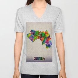 Guinea Map in Watercolor Unisex V-Neck