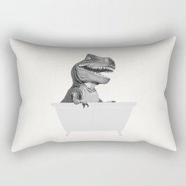 Vintage T-Rex in Bathtub Rectangular Pillow