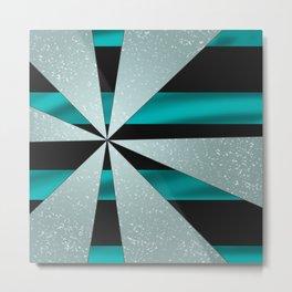 4Shades Glass: Blue Black Metal Print